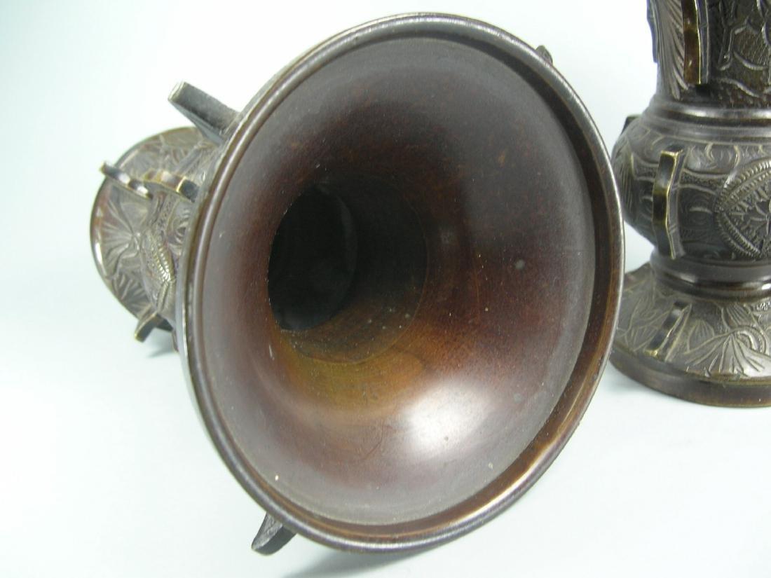 Pair of Small Antique Bronze Gu Vases - 7
