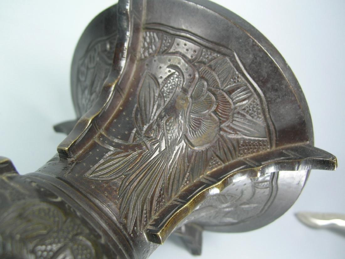 Pair of Small Antique Bronze Gu Vases - 9