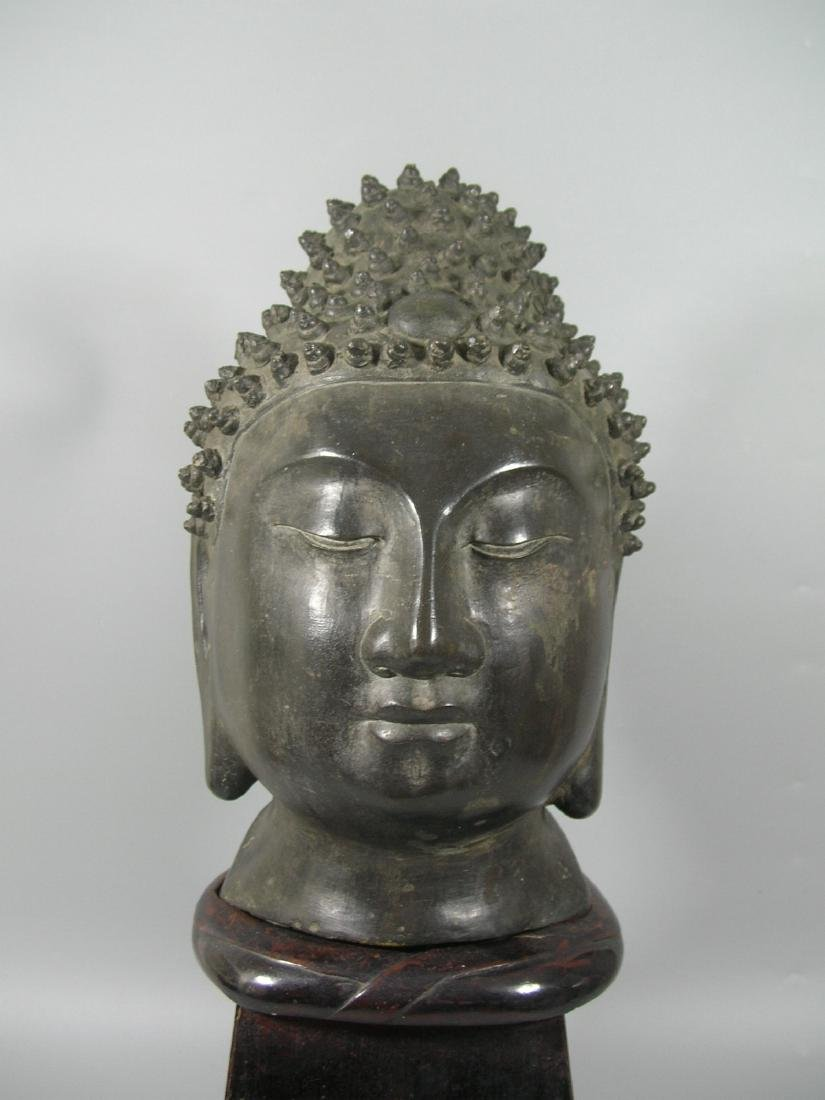 Unusual Ming Dynasty Bronze Buddha Head - 2