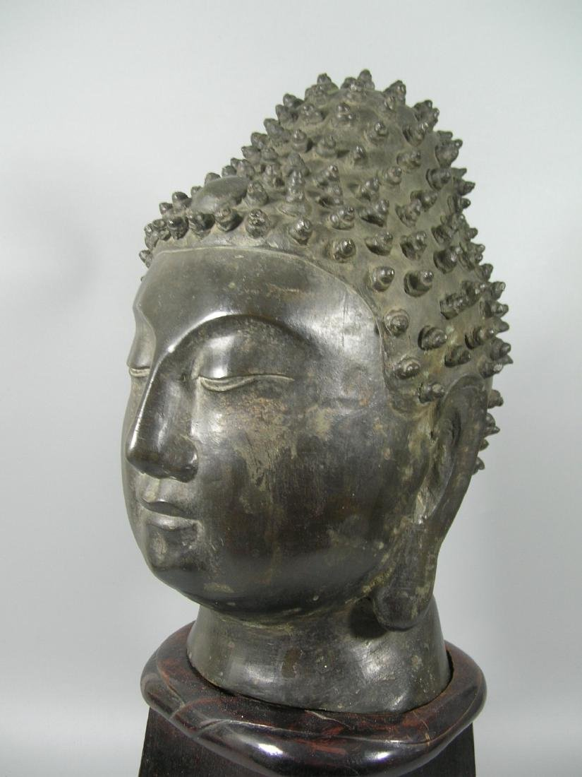 Unusual Ming Dynasty Bronze Buddha Head - 3