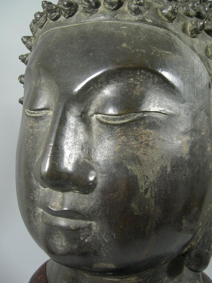 Unusual Ming Dynasty Bronze Buddha Head - 5