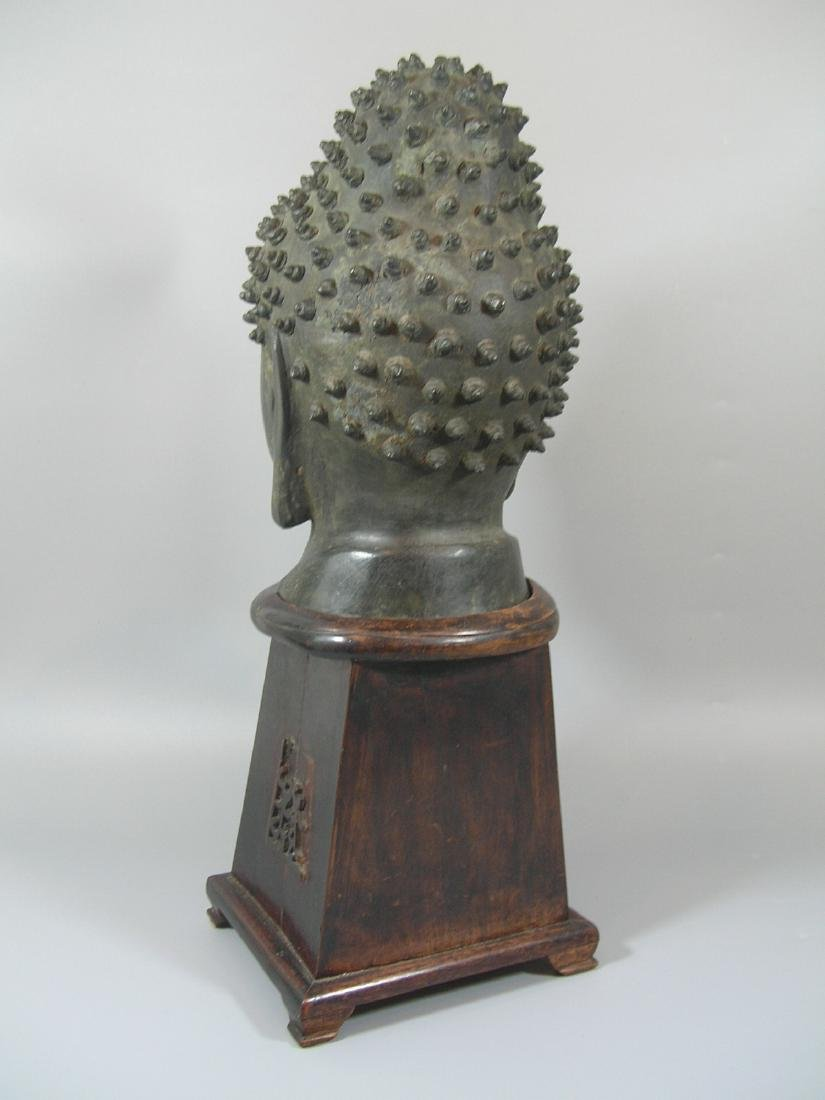 Unusual Ming Dynasty Bronze Buddha Head - 6