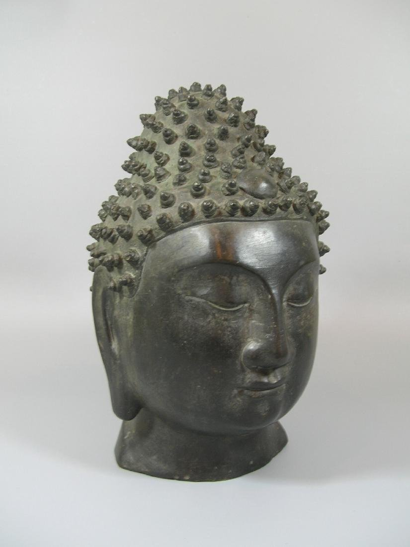 Unusual Ming Dynasty Bronze Buddha Head - 8