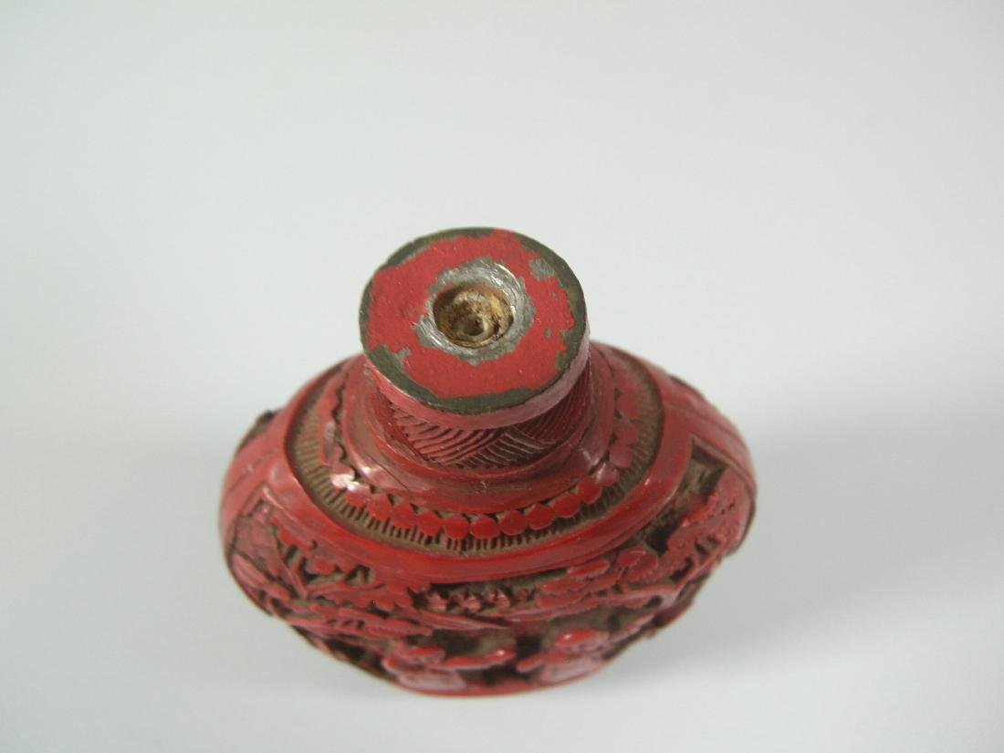 Antique Chinese Carved Red Lacquer Snuff Bottle - 4