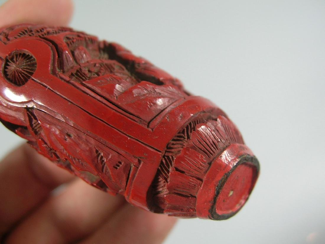 Antique Chinese Carved Red Lacquer Snuff Bottle - 7