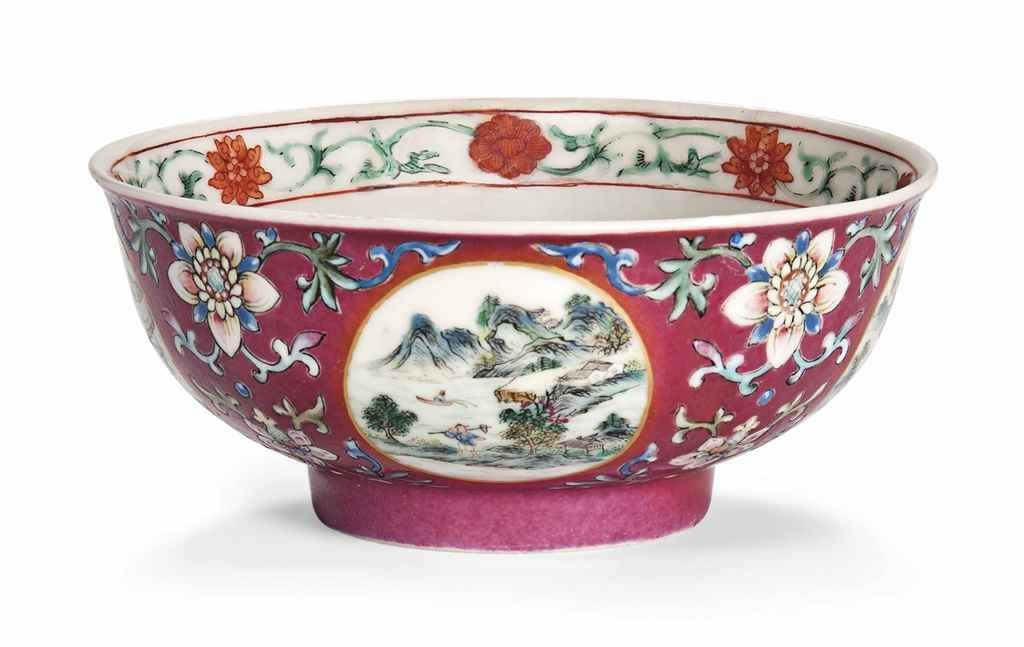 Daoguang Imperial Famille Rose Ruby-Ground Bowl
