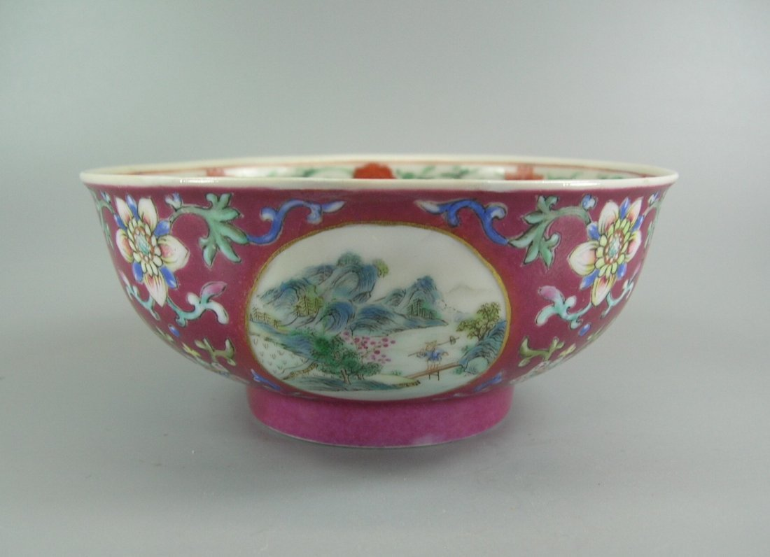 Daoguang Imperial Famille Rose Ruby-Ground Bowl - 2