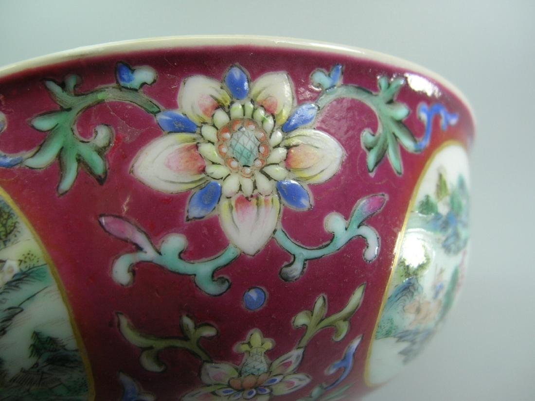 Daoguang Imperial Famille Rose Ruby-Ground Bowl - 4