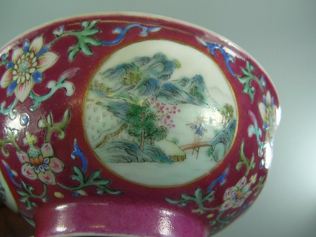 Daoguang Imperial Famille Rose Ruby-Ground Bowl - 6