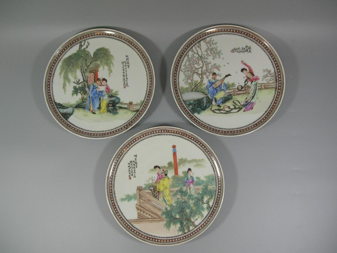 Set of Three Vintage Hand-Painted Porcelain Dishes