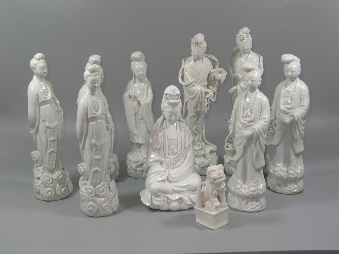 Group of 10 Old Chinese Blanc De Chine Statues