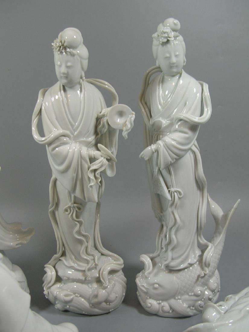 Group of 10 Old Chinese Blanc De Chine Statues - 7