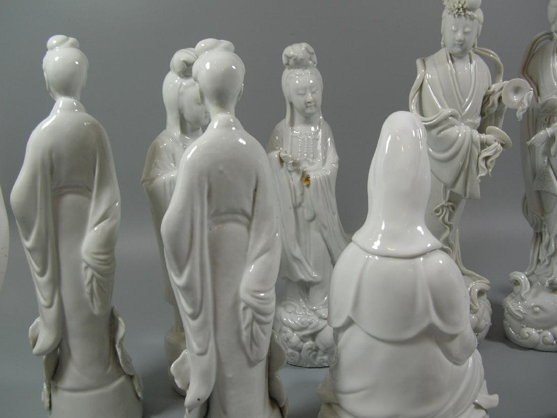 Group of 10 Old Chinese Blanc De Chine Statues - 8