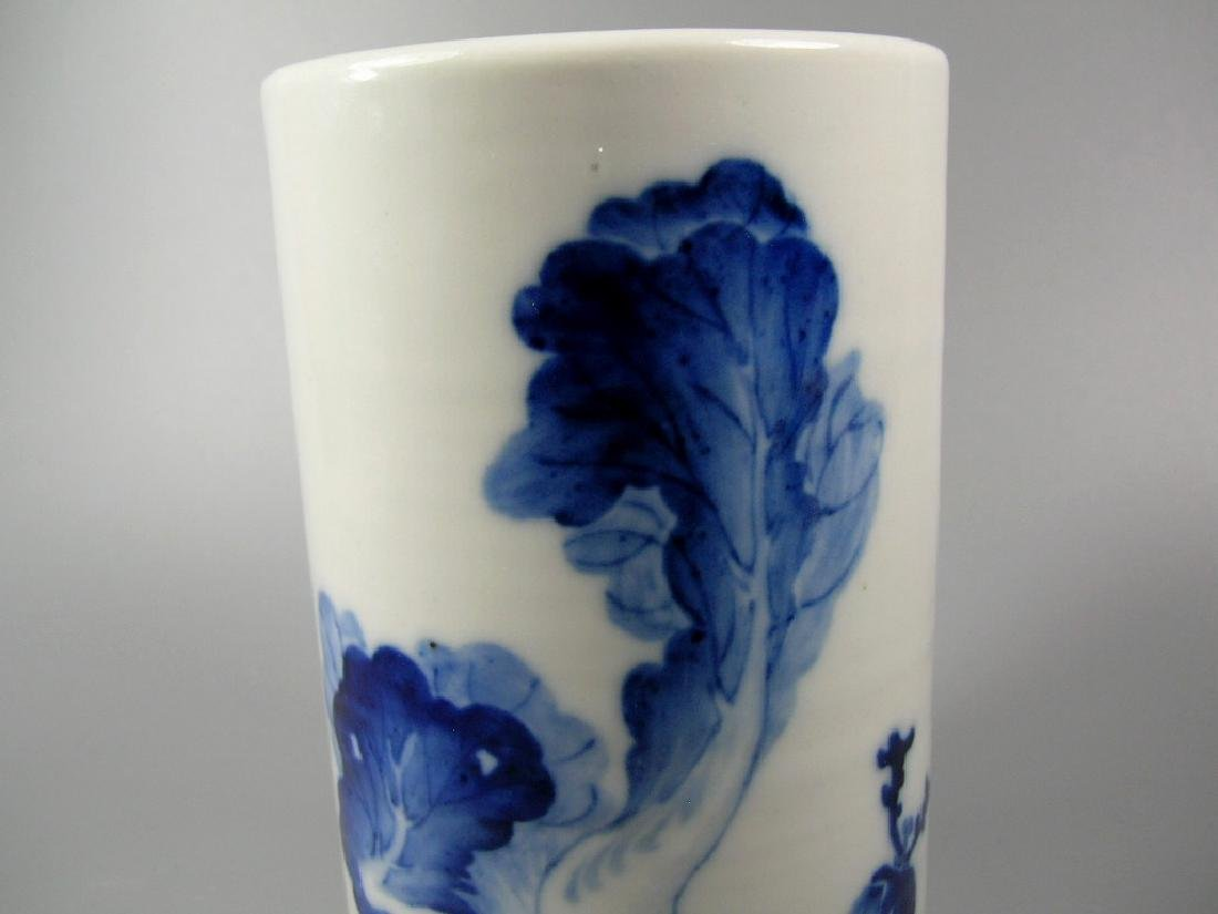 Small Chinese Blue and White Porcelain Brush Pot Signed - 3