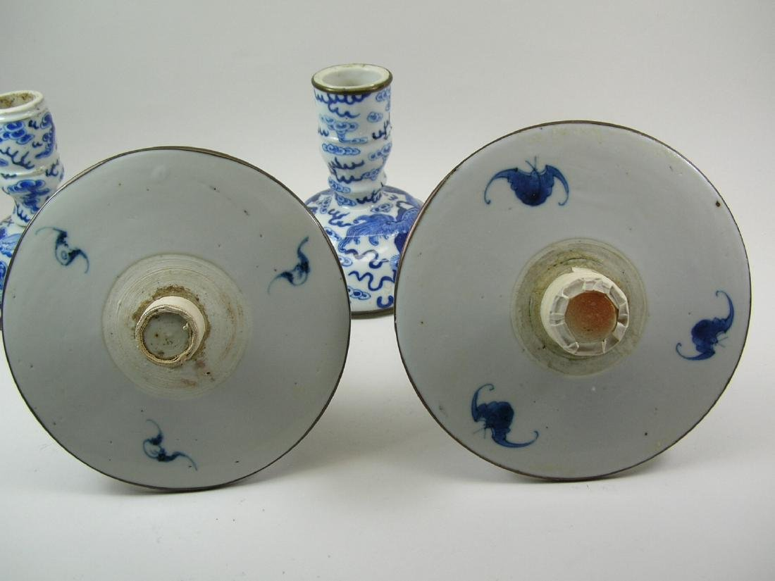 Two Chinese Blue and White Candlesticks Qing Dynasty - 10