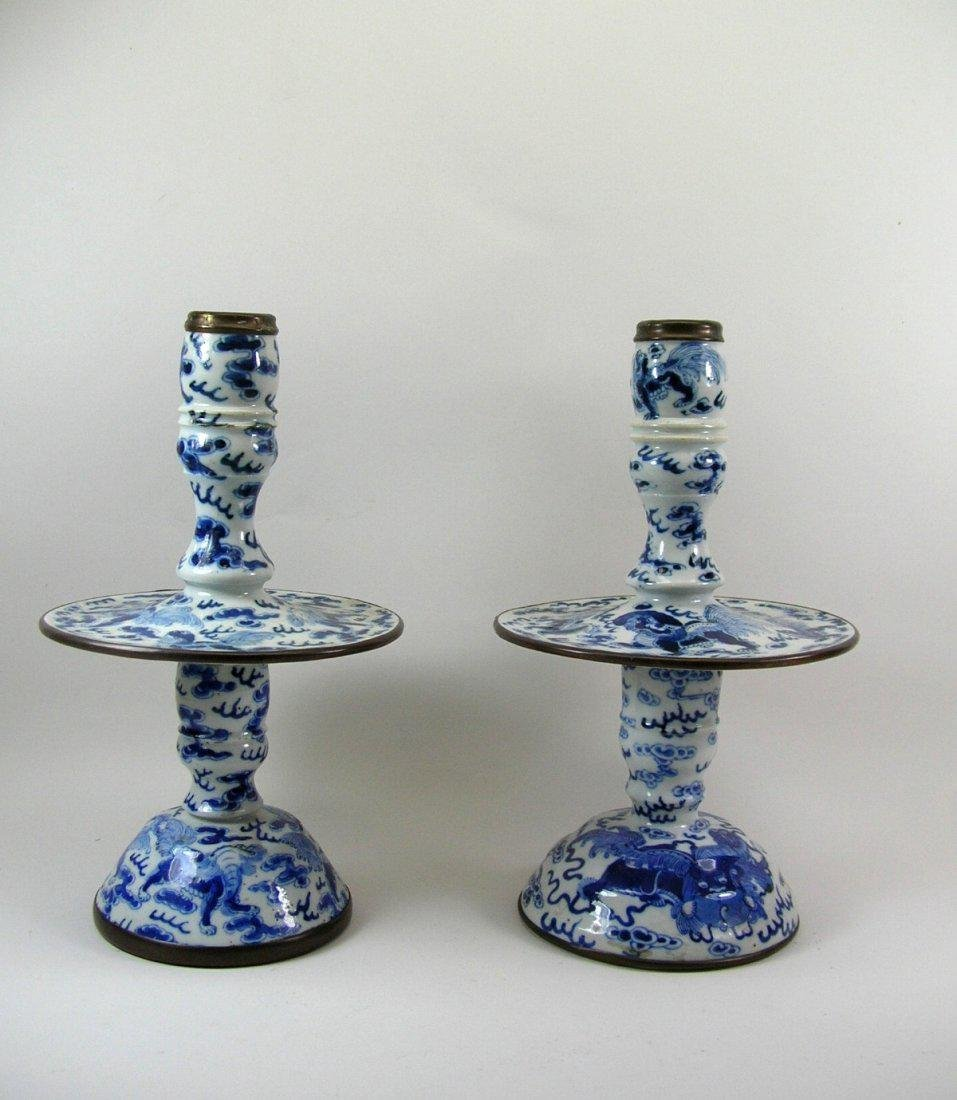 Two Chinese Blue and White Candlesticks Qing Dynasty