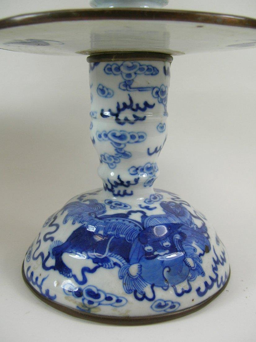 Two Chinese Blue and White Candlesticks Qing Dynasty - 2