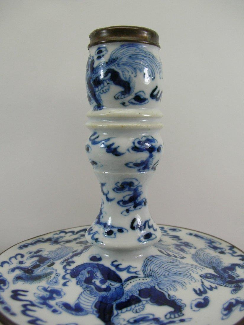 Two Chinese Blue and White Candlesticks Qing Dynasty - 3