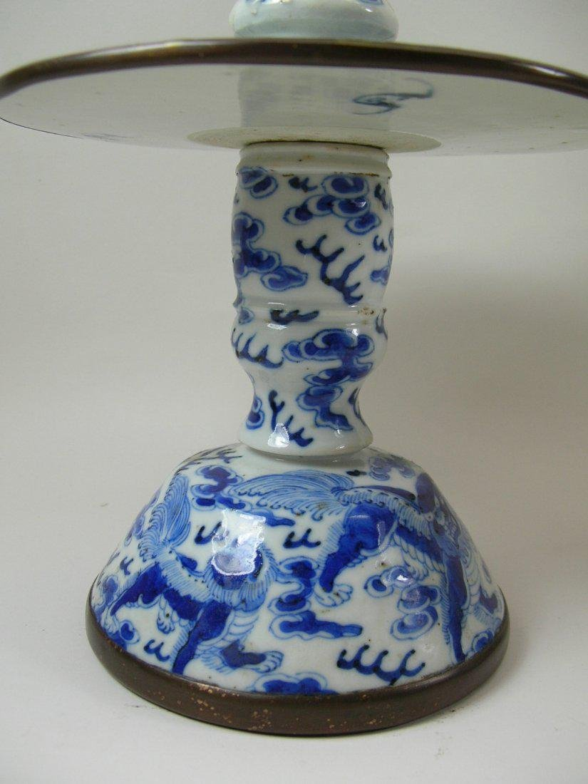 Two Chinese Blue and White Candlesticks Qing Dynasty - 4