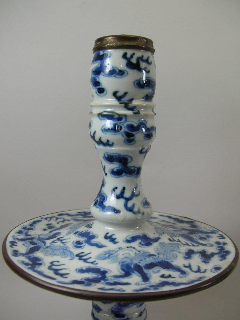 Two Chinese Blue and White Candlesticks Qing Dynasty - 5