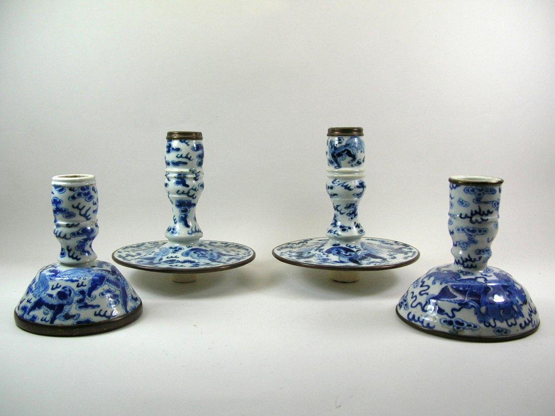 Two Chinese Blue and White Candlesticks Qing Dynasty - 6