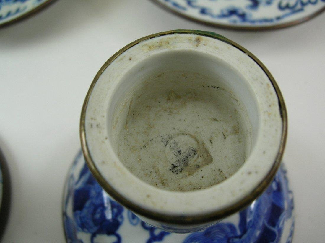 Two Chinese Blue and White Candlesticks Qing Dynasty - 9