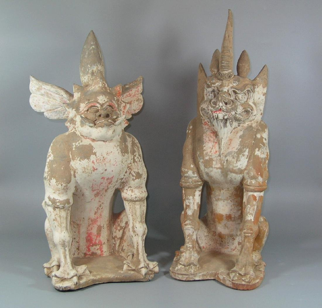 Unusual Two Large Tang Dynasty Pottery Earth Spirits