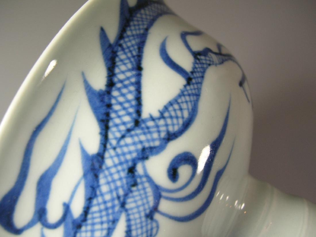 Fine Yuan-Style Blue and White 'Dragon' Stem Bowl - 5