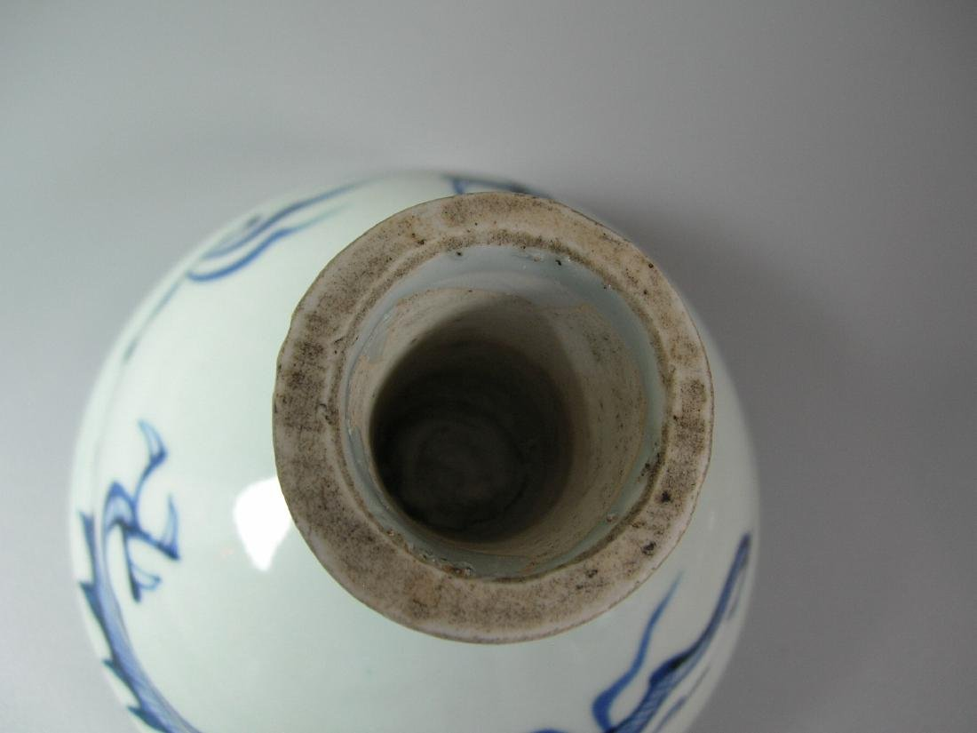 Fine Yuan-Style Blue and White 'Dragon' Stem Bowl - 8