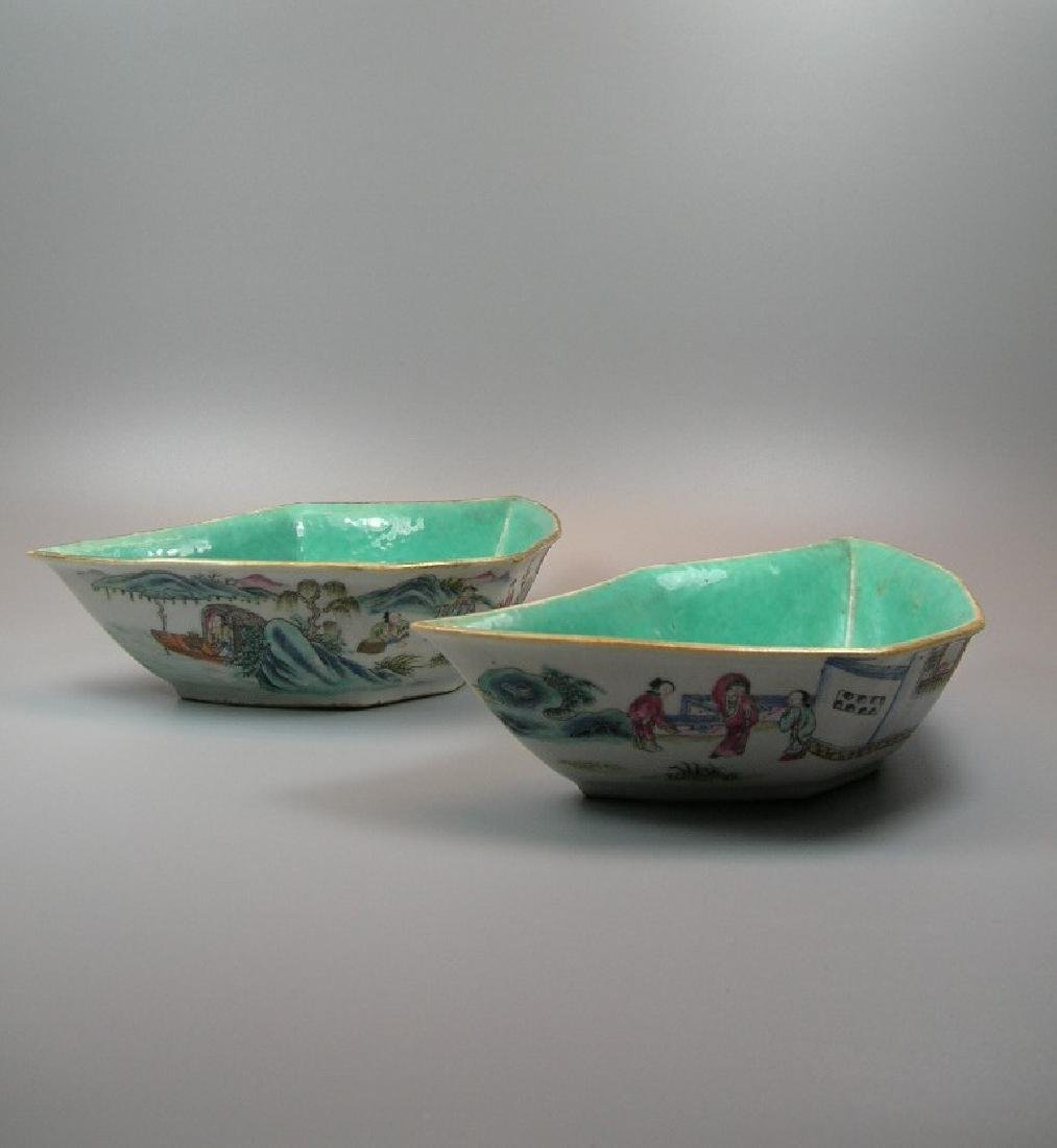 Two Famille Rose Crescent-Shaped Dishes 19th C