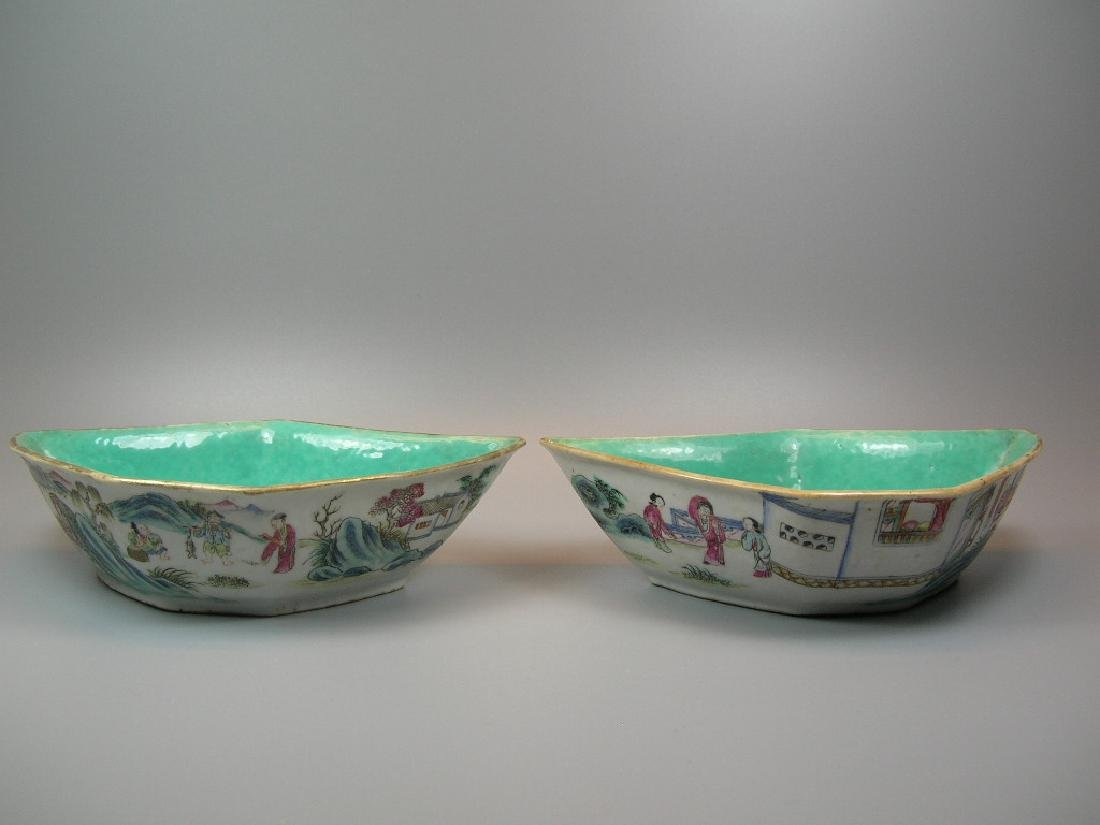 Two Famille Rose Crescent-Shaped Dishes 19th C - 2