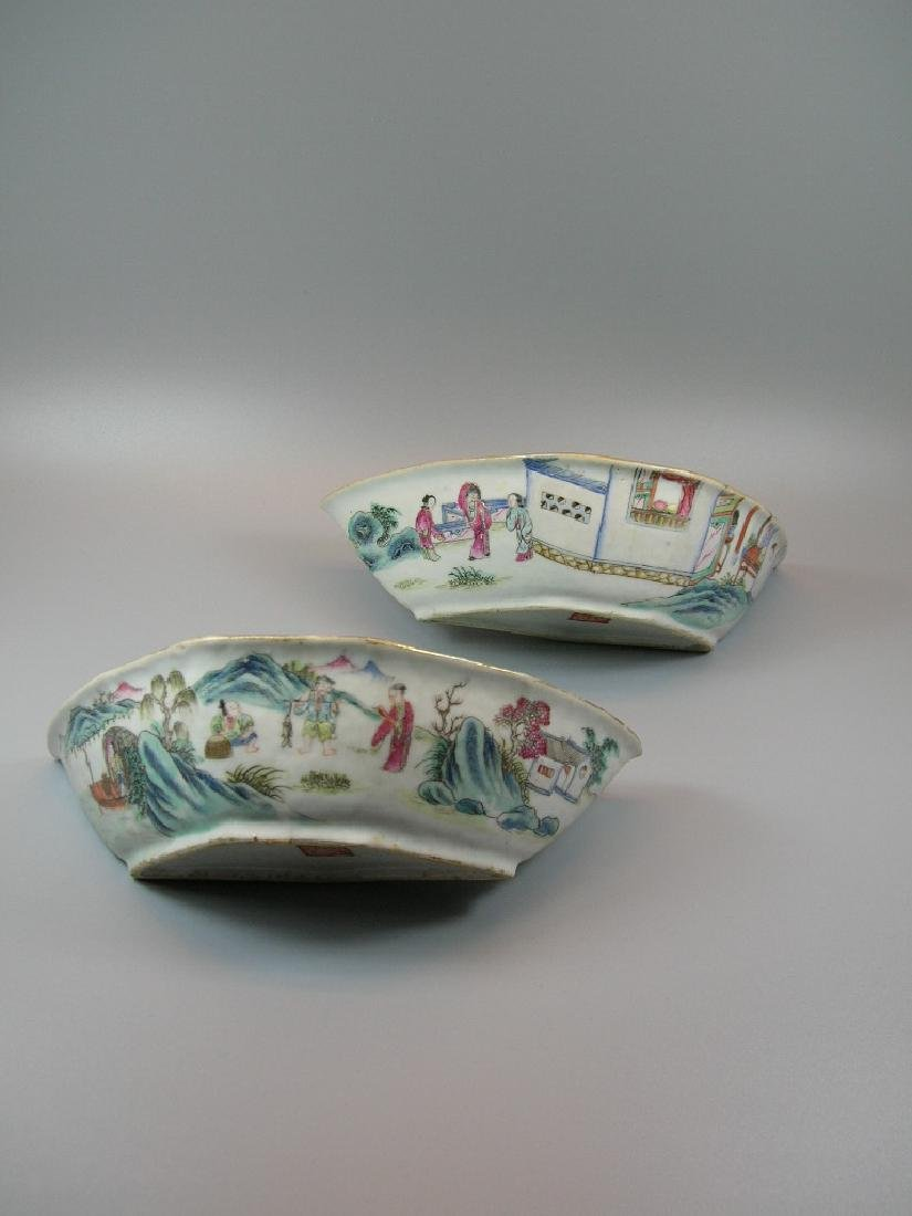 Two Famille Rose Crescent-Shaped Dishes 19th C - 5