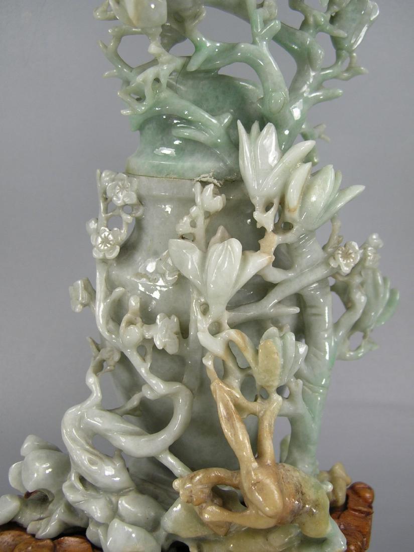 Vintage Chinese Carved Jadeite Vase - 3