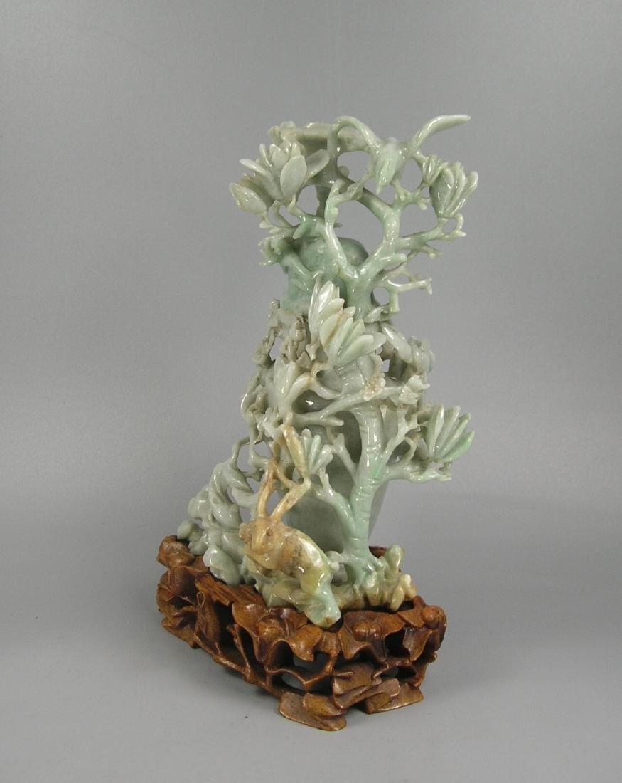 Vintage Chinese Carved Jadeite Vase - 4