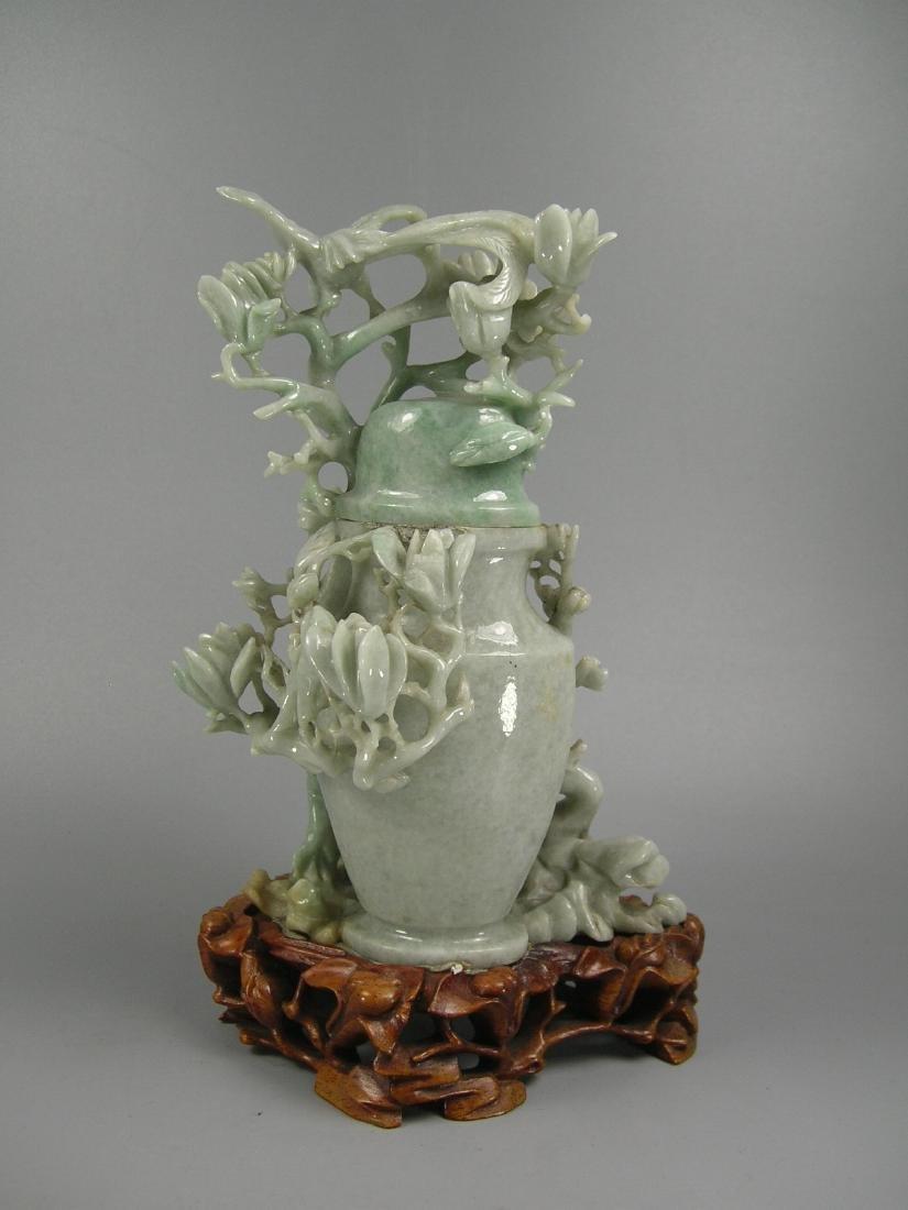 Vintage Chinese Carved Jadeite Vase - 6