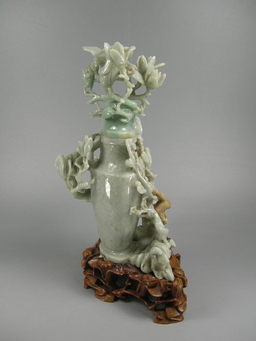 Vintage Chinese Carved Jadeite Vase - 7