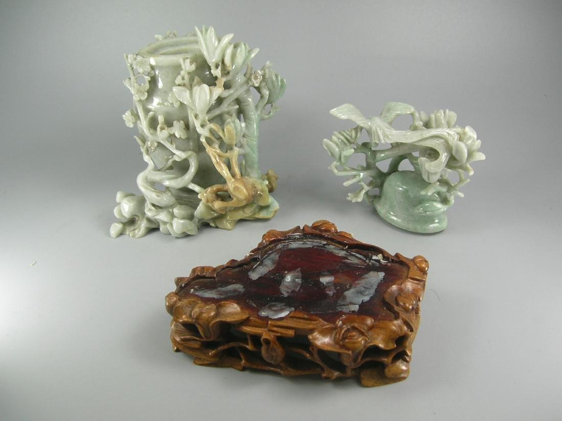 Vintage Chinese Carved Jadeite Vase - 9