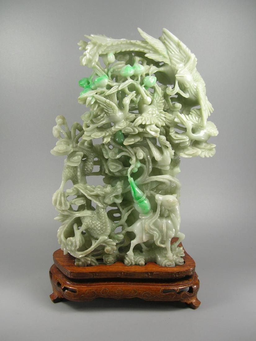 Vintage Chinese Green Jadeite Vase Group