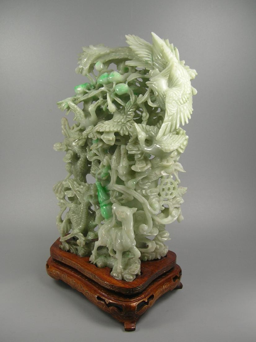 Vintage Chinese Green Jadeite Vase Group - 4