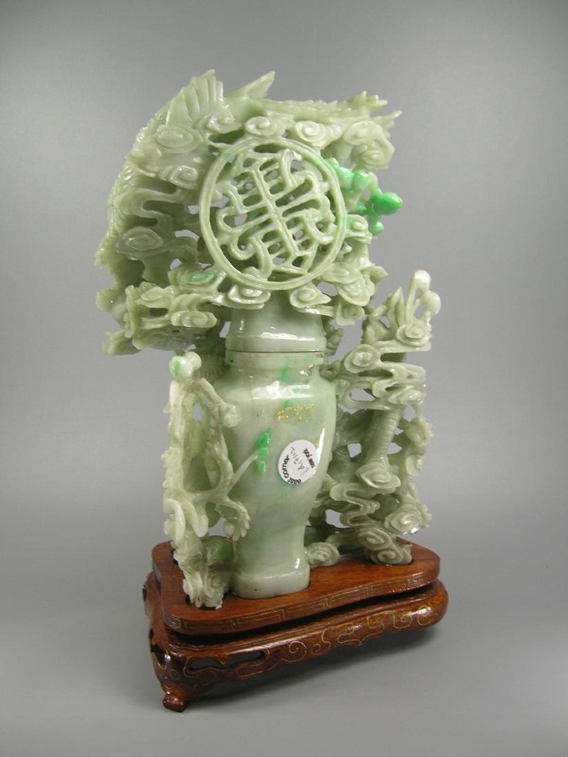 Vintage Chinese Green Jadeite Vase Group - 5