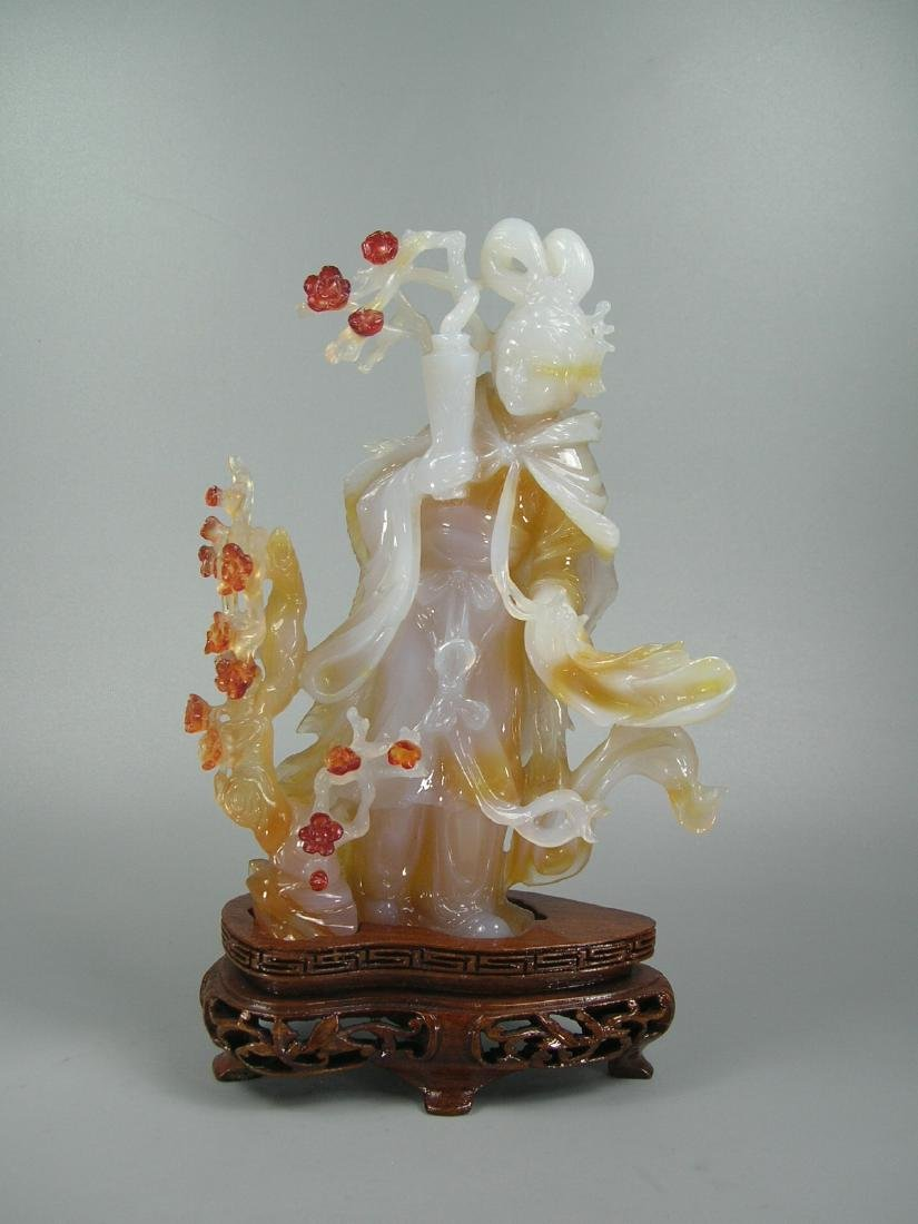 Vintage Carved Multi-Color Agate Maiden and Prunus