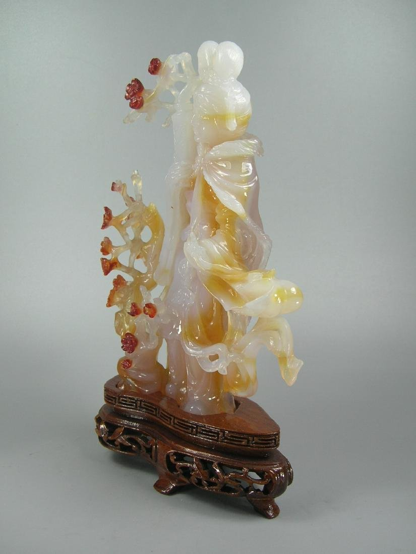 Vintage Carved Multi-Color Agate Maiden and Prunus - 2