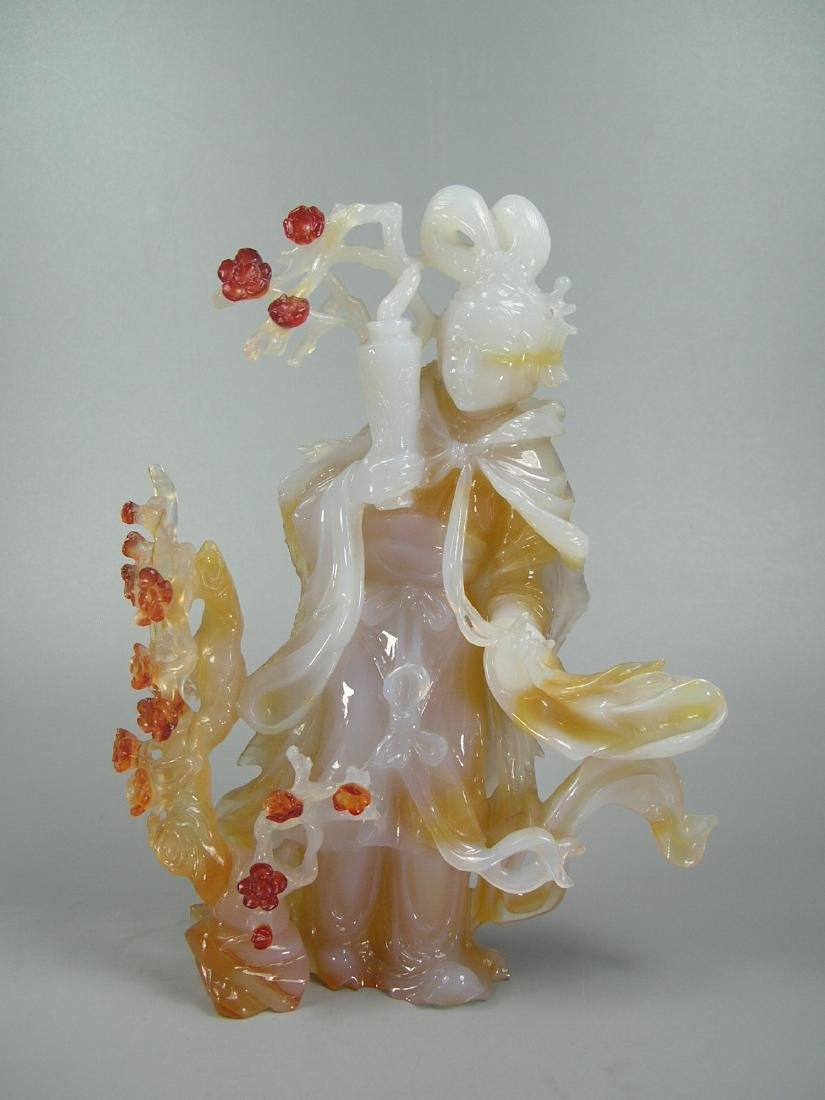 Vintage Carved Multi-Color Agate Maiden and Prunus - 8