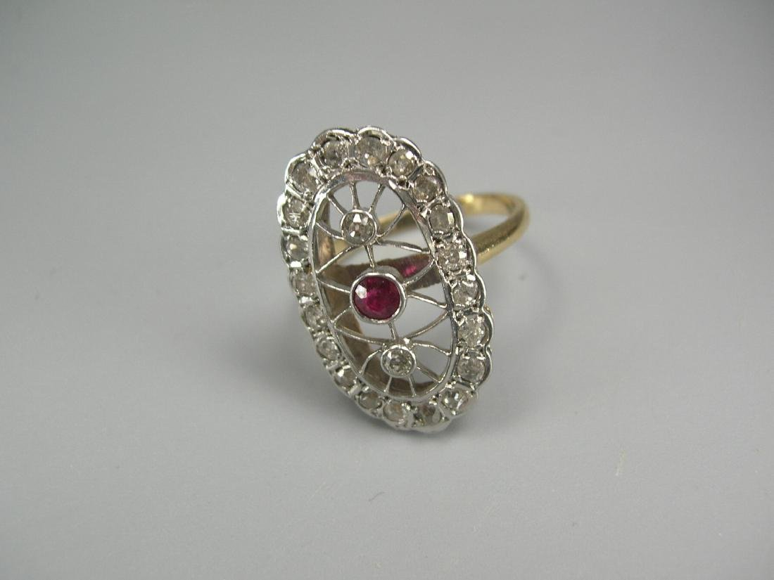 14k Yellow and White Gold Oval Ring with Ruby & Diamond