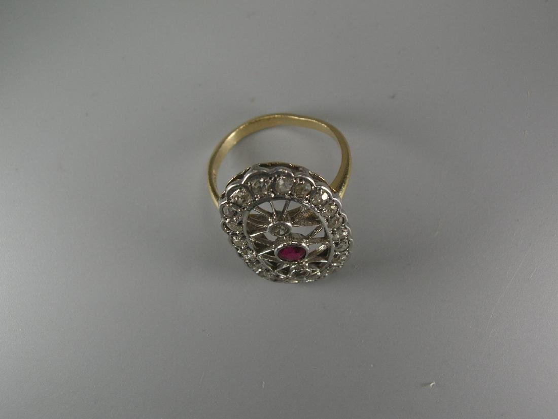 14k Yellow and White Gold Oval Ring with Ruby & Diamond - 2