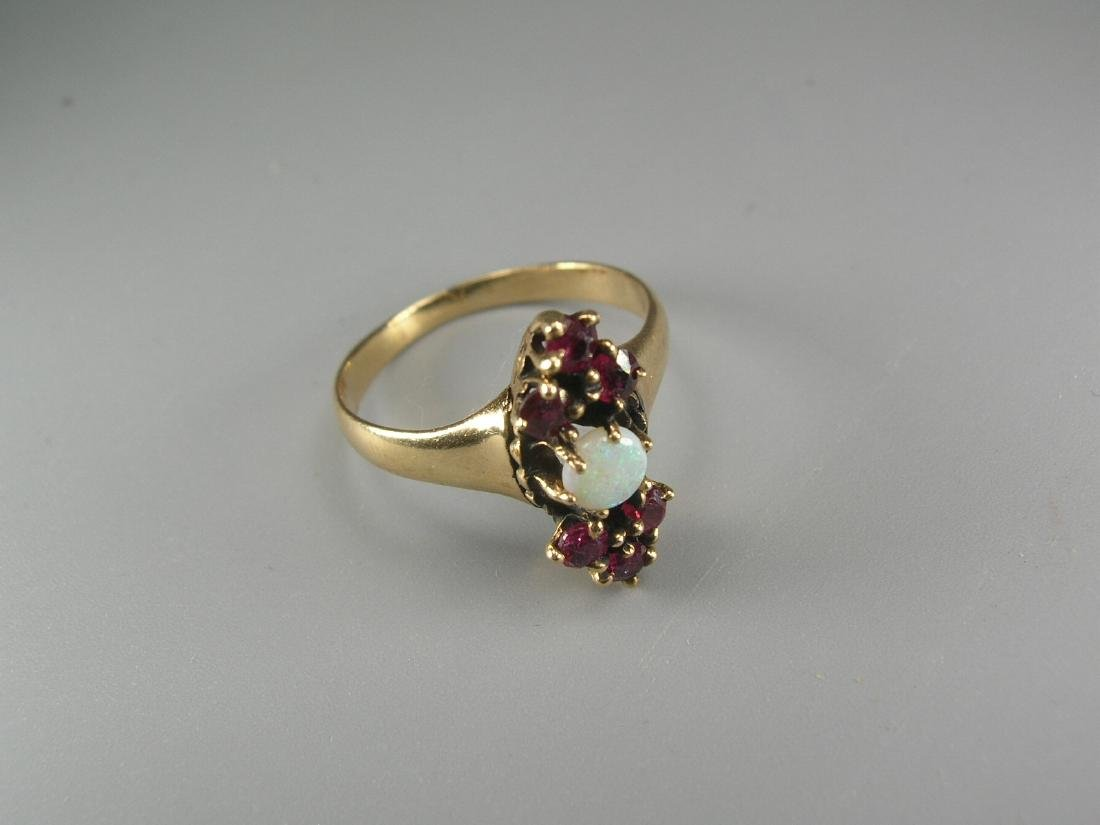 14K Yellow Gold Garnet and Opal Ring