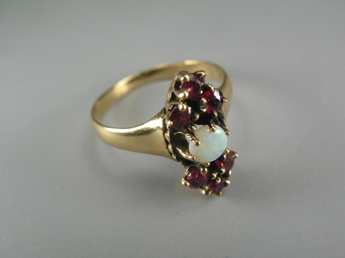 14K Yellow Gold Garnet and Opal Ring - 2