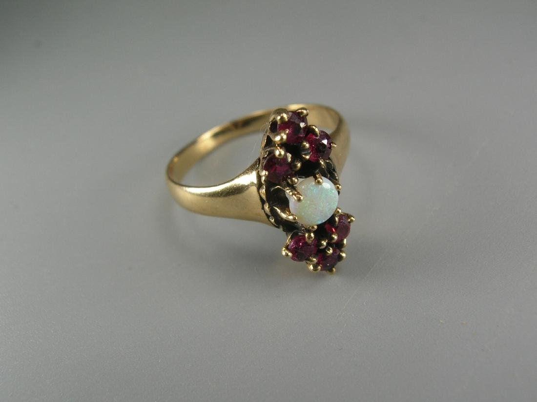 14K Yellow Gold Garnet and Opal Ring - 3