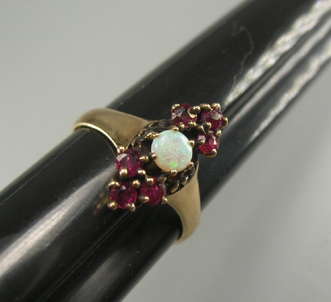 14K Yellow Gold Garnet and Opal Ring - 5