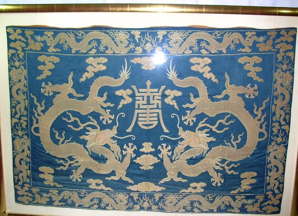 Large Antique Chinese Silk Brocade Woven 'Dragon' Panel